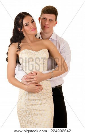 beautiful couple man and woman isolated on white background