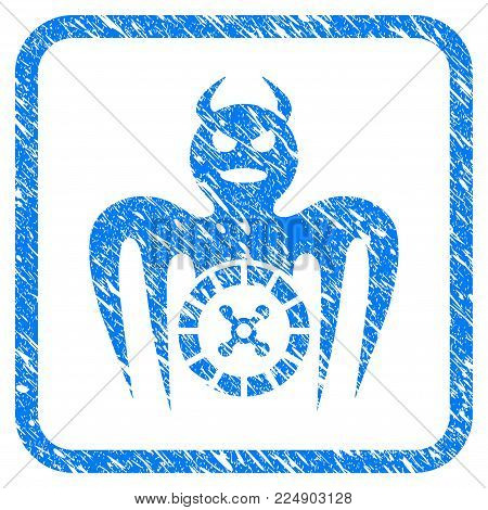Roulette Spectre Devil scratched textured icon inside rounded frame for overlay watermark imitations. Flat symbol with scratched texture.