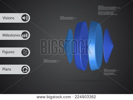 3D illustration infographic template with motif of two cones and two cylinders between horizontally arranged with blue color with simple sign and sample text on side in bars and dark background.