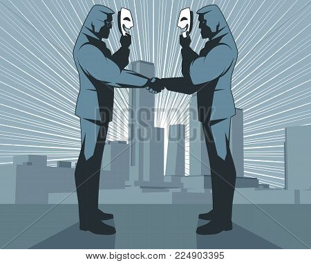 Vector illustration of hypocritical handshake of businessmen