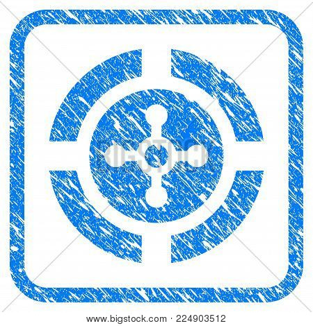 Roulette grungy textured icon inside rounded rectangle for overlay watermark imitations. Flat symbol with unclean texture. Framed vector blue rubber seal stamp with grunge design of roulette.