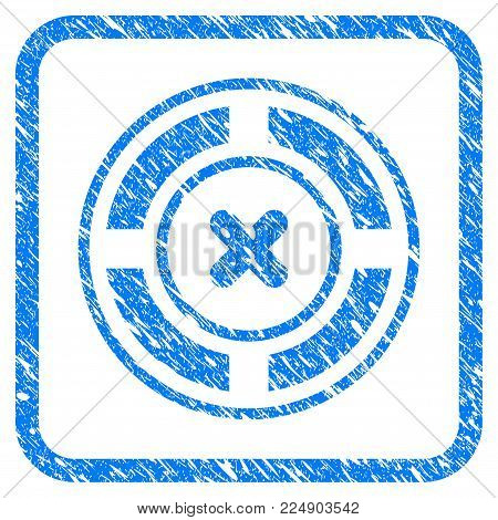 Roulette grungy textured icon inside rounded square for overlay watermark stamps. Flat symbol with scratched texture. Framed vector blue rubber seal stamp with grunge design of roulette.