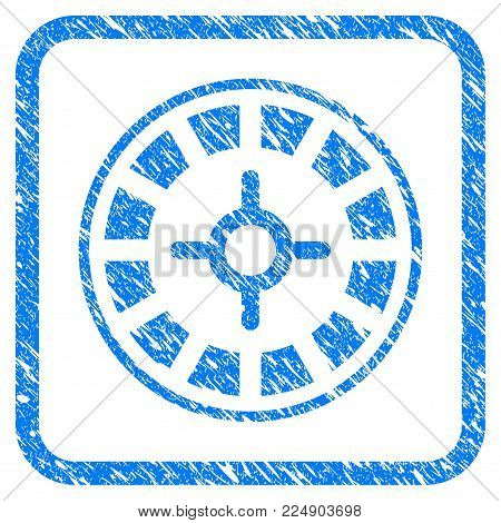 Roulette grunge textured icon inside rounded frame for overlay watermark imitations. Flat symbol with dirty texture. Framed vector blue rubber seal stamp with grunge design of roulette.