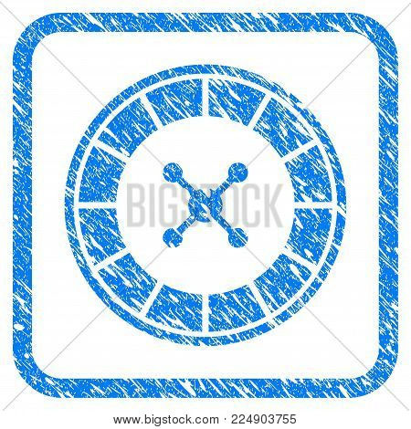 Roulette grunge textured icon inside rounded frame for overlay watermark stamps. Flat symbol with unclean texture. Framed vector blue rubber seal stamp with grunge design of roulette.