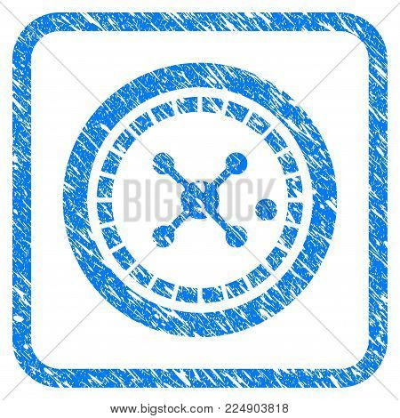 Roulette scratched textured icon inside rounded square for overlay watermark stamps. Flat symbol with dirty texture. Framed vector blue rubber seal stamp with grunge design of roulette.