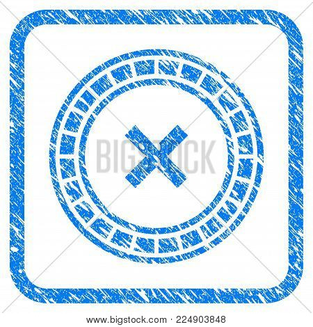 Roulette grungy textured icon inside rounded rectangle for overlay watermark stamps. Flat symbol with unclean texture. Framed vector blue rubber seal stamp with grunge design of roulette.