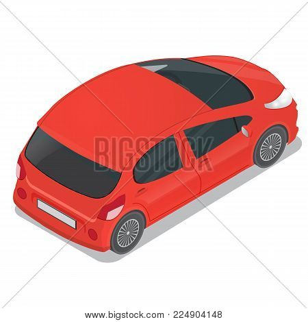 Isometric  red hatchback. Realistic vector illustrationon white background.
