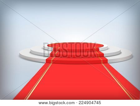 Round podium with red carpet. Realistic vector illustration. Stage for awards ceremony. Pedestal.  Vector illustration.
