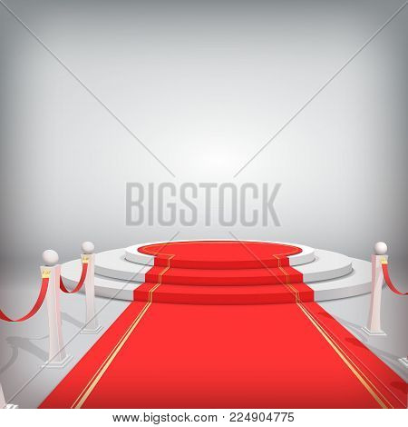 Realistic vector red event carpet, gold barriers and white stairs isolated on white background.