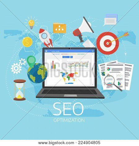 Colorful flat illustration web analytics design , SEO optimization. Search Engine Optimization. Laptop with Graph, Magnifying Glass, target, gears and other flat icons.