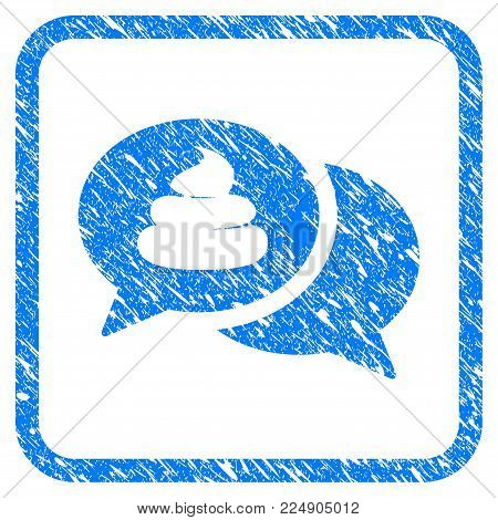 Shit Forum grainy textured icon inside rounded rectangle for overlay watermark imitations. Flat symbol with dirty texture. Framed vector blue rubber seal stamp with grunge design of shit forum.