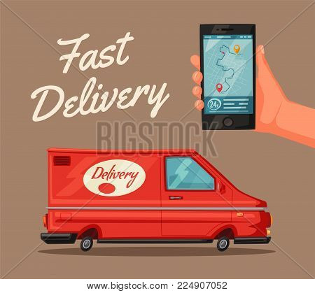 Delivery service by van. Car for parcel delivery. Cartoon vector illustration. Fast delivery truck or lorry. Concept for web or print