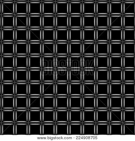 Squares in grid geometric seamless pattern. Fashion graphic background design. Modern stylish abstract monochrome texture. Template 4 prints, textiles, wrapping, wallpaper, website VECTOR illustration
