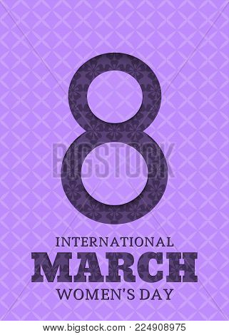 8 March. International Women's Day. Template for posters or cards with number 8 in the style of cut paper with geometric pattern. Vector illustration