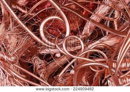 Closeup of copper wire raw materials industry