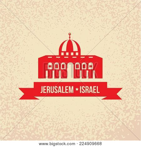 Jerusalem detailed silhouette stylish colorful landmarks. The concept for a web banner. Dome of the Rock, Islamic shrine - The symbol of Israelis