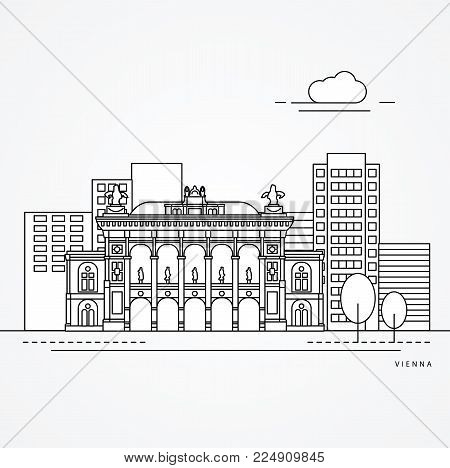 Linear illustration of Vienna, Austria. Flat one line style. vector illustration. Architecture line cityscape with famous landmarks, city sights, design icons. Editable strokes
