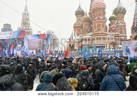 03/02/2018. Russia Moscow. Vasilievsky descent near the walls of the Kremlin. Annual concert