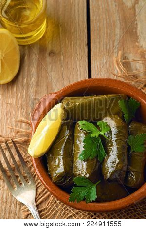 Stuffed Grape Leaves With Rice And Meat