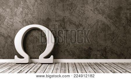 White Omega Greek Letter Symbol Shape Against Plastered Wall of a Room, 3D Render