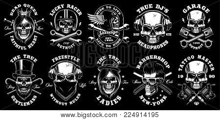 Set of black and white skulls with different crossed elements on dark background. Shirt designs with queen, biker, dj, gentleman, barber and many others. Text is on the separate layers.