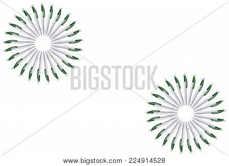 The Texture Of A Set Of White Pens In The Form Of A Circle. Isolated Image