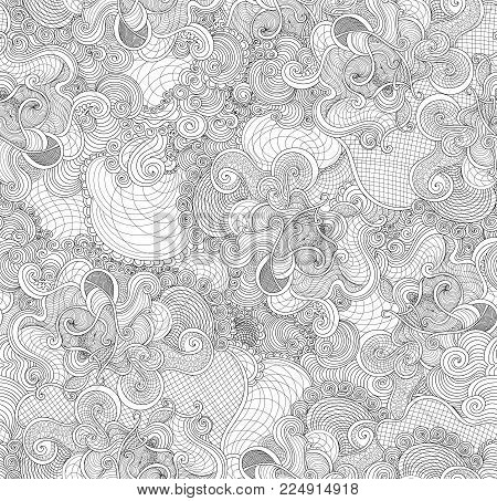Decorative abstract vector seamless texture with figured lines and doodles. You can use any color of background