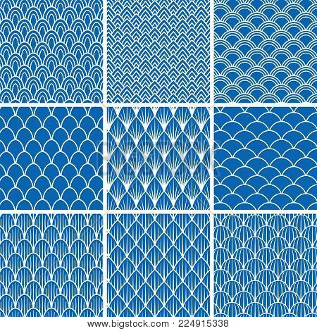 Set of vector seamless backgrounds from fish scales in blue and white. A collection of designs of infinite patterns with an oval, semicircular, angular, triangular scales for design and decoration backdrops, wrap in a marine style