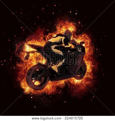 Motorbike and rider crouched low over the handlebars engulfed in orange flames with fiery exploding sparks on a dark square background. 3d Rendering