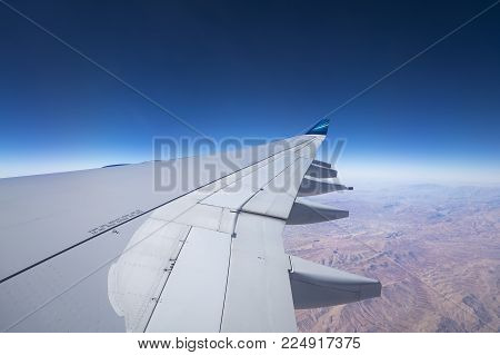 Baku, Azerbaijan - December 31,2017: View Of In Wing Airplane  Azal Azerbaijan Airlines  In Flight