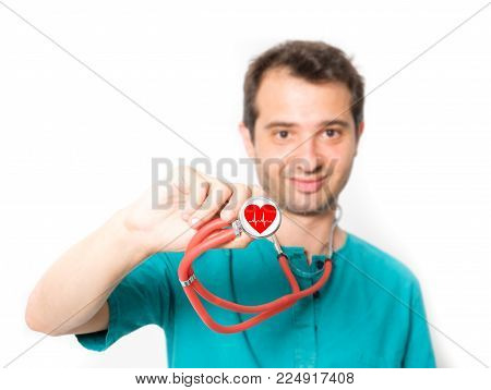 Cardiologist On White Background , Main Focus On The Stethoscope