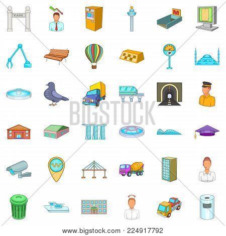 Inhabitant of capital icons set. Cartoon set of 36 inhabitant of capital vector icons for web isolated on white background
