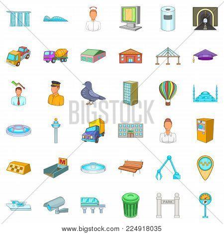 Inhabitant icons set. Cartoon set of 36 inhabitant vector icons for web isolated on white background