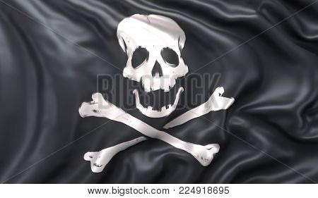 Black pirate flag with skull and crossbones, blowing in the wind. 3D illustration