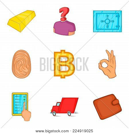 Credit facility icons set. Cartoon set of 9 credit facility vector icons for web isolated on white background