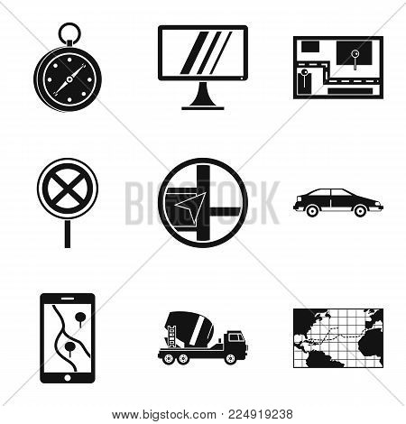Location way icons set. Simple set of 9 location way vector icons for web isolated on white background