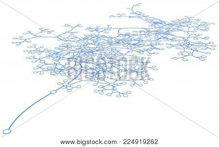 Circles linked by lines connection systems, standing out one link, over white, isolated, horizontal 3d illustration