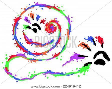 Finger paints smile art hand print symbol stylized, vector illustration, horizontal, isolated