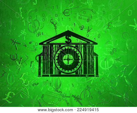 Money several currencies security vault, cyberspace green virtual reality abstract 3d illustration, horizontal