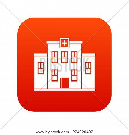 City hospital building icon digital red for any design isolated on white vector illustration