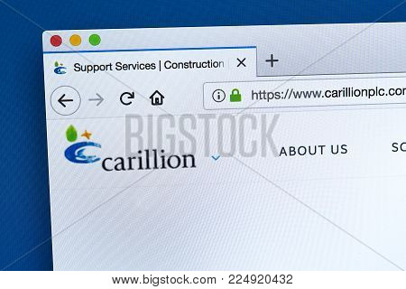 London, Uk - January 15th 2018: The Homepage Of The Official Website For Carillion Plc - The British