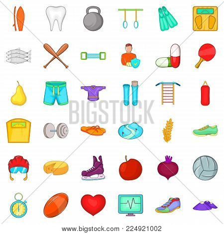Level of health icons set. Cartoon set of 36 level of health vector icons for web isolated on white background