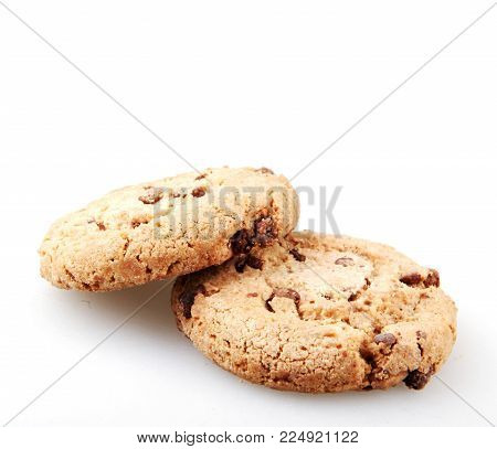 Chocolate Chip Cookie Isolated On White Color Image Stock Photos