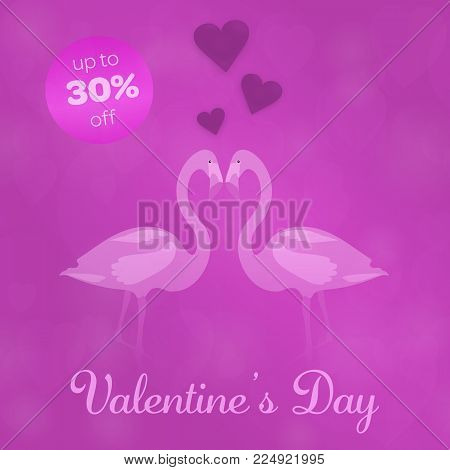 Valentine's day - Sale. Flamingos in love and background with hearts. Text: Valentine's Day - up to 30% off