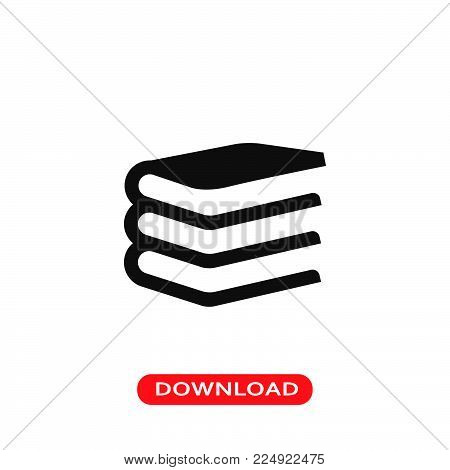 Book stack of three icon vector in modern flat style for web, graphic and mobile design. Book stack of three icon vector isolated on white background. Book stack of three icon vector illustration, editable stroke and EPS10. Book stack of three icon vector