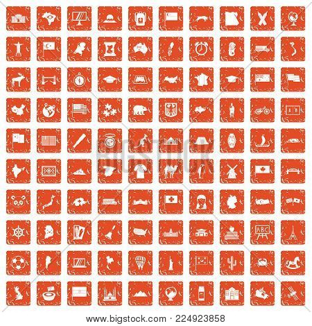 100 geography icons set in grunge style orange color isolated on white background vector illustration
