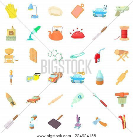 Handicraft icons set. Cartoon set of 36 handicraft vector icons for web isolated on white background