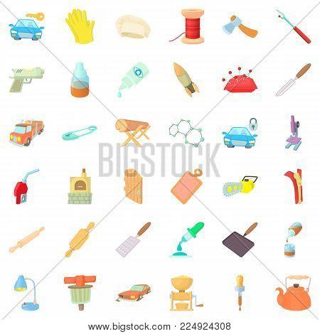 Handicraft production icons set. Cartoon set of 36 handicraft production vector icons for web isolated on white background