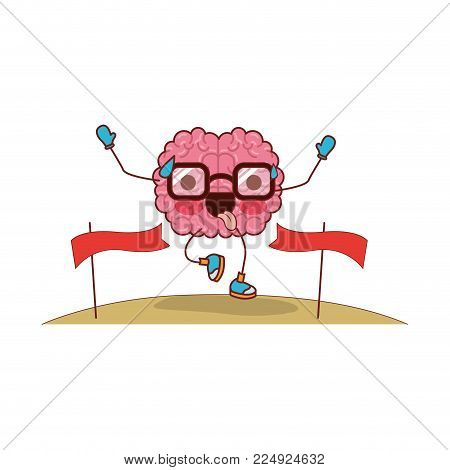 brain cartoon expression mind intelligence neurology fun caricature comic graphic vector illustration