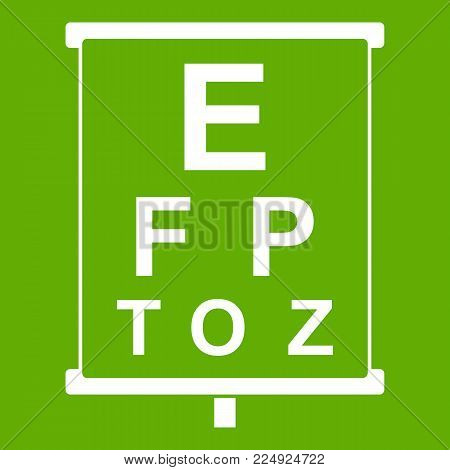 White placard with letters eyesight testing icon white isolated on green background. Vector illustration